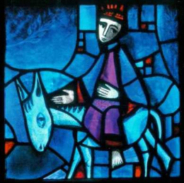 Icon on wood, small - Stained-glass window: Palm Sunday
