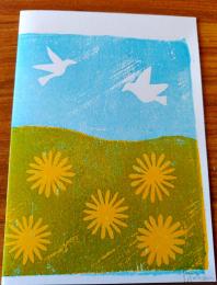 Carte Postale - Oiseaux et Fleurs