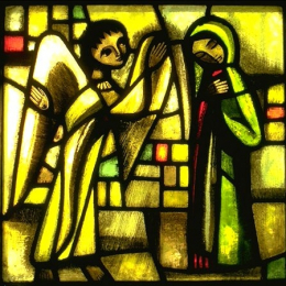 Icon on wood, small - Stained-glass window: Annunciation