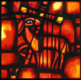 Icon on wood, small - Stained-glass window: Easter